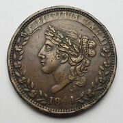 1841 Liberty Head Hard Time Token Not One Cent Vf