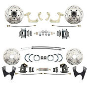 55-58 Gm Full Size Front And Rear Disc Brake Kit Drilled/slotted Rotors