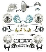 64-72 Gm A Body Front Rear Power Disc Brake Drilled Rotors 11 Chrome Booster