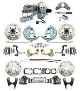 64-72 Gm A Body Front Rear Power Disc Brake Drilled Rotors 9 Chrome Booster