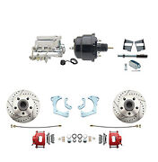 65-68 Gm Full Size Performance Front Disc Brake Kit Red Calipers