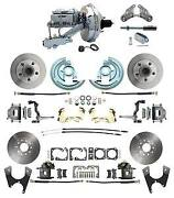 64-72 Gm A Body Front And Rear Power Disc Brake Kit W/ 9 Chrome Booster