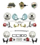 62-67 Nova Power Front And Rear Disc Brake Kit Drilled Rotors 9 3 Stud Booster