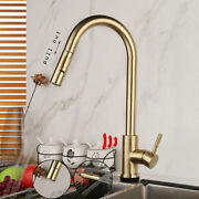 Kitchen Sink Brushed Gold Sensor Swivel Pull Out Taps Mixer Deck Mounted Faucet