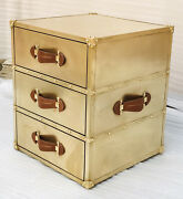 Brass Vintage Look 3 Drawer Customized Side Table Set Of 2