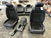 2010-2012 Ford Mustang Black Front Rear Seat Bucket Leather Elect Power