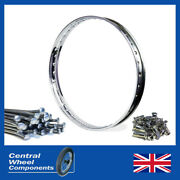 18 X 1.60 Wm1 Stainless Rim And Spoke Set - Bsa Bantam D1 And D3 Single Sided Front