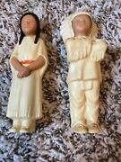 Two Native American Indian Cheif Figure Vintage Hard Celluloid Plastic
