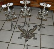 4 Exceptional Antique Nickle Plated Cast Iron Fancy Shoe Store Display Stands