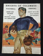 1936 Green Bay Packers Super Rare Program V Pacific All-americans Hinkle Hutson