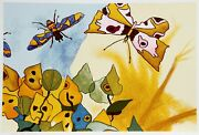 Aymon De Roussy De Sales Papillon Lithograph Signed And Numbered In Pencil
