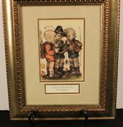 Authentic M.i.hummel Print School Boys Matted And Framed 1981 Munich W Germany