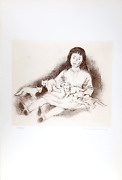 Raphael Soyer Girl With Foxes Etching Signed And Numbered In Pencil