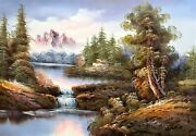 Shumu Fu Mountain Landscape With Waterfall 130 Oil On Canvas Unsigned