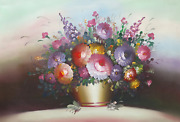 Chuju Sheng Spring Flowers In Gold Vase 2 Oil On Canvas Unsigned