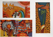 Judith Bledsoe Cats Giraffes And Zebras Lithograph And Blind Embossing Signe