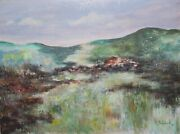 Michael Schreck Swiss Landscape Acrylic On Canvas Signed L.r.