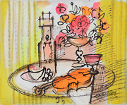 Charles Cobelle Still Life With Wine And Violin 8 Acrylic On Canvas Signed L.