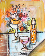 Charles Cobelle Still Life With Wine And Flowers 3 Acrylic On Canvas Signed L