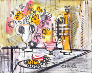 Charles Cobelle Still Life With Trumpet 2 Acrylic On Canvas Signed L.r.
