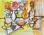Charles Cobelle Still Life With Violin And Fruit Acrylic On Canvas Signed L.r