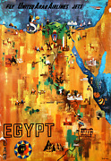 Travel Poster Egypt - Fly United Arab Airlines Jets Poster