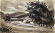 Laurent Marcel Salinas, Untitled - Farmhouse 213, Watercolor On Paper, Signed