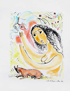 M. Alexander, Woman With Bird And Goat, Watercolor On Paper, Signed