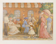 Eva Sikorski, Victorian Street Scene, Offset Lithograph After Painting, Signed A