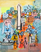 Charles Cobelle, Place De La Concorde With Fountain, Acrylic On Canvas, Signed L