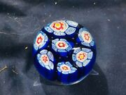 Murano Glass Millefiori 2 1/4 In Paperweight In Blues And White With Red Accents