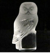 Vintage Lalique Frosted /clear Glass Owl Figurine Paperweight 3.5 Signed 1945