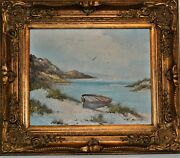 Oil Painting On Canvas Coastal Depiction Boat Coastal Inlet After Sisley