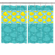 Yellow Duck And Swimming Pool Kitchen Curtains 2 Panel Set Decor Window Drapes