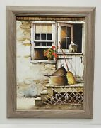 Framed John Rossini Cleaning Day Broom Farmhouse Geranium Wall Picture