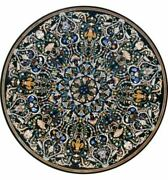 48 Black Marble Dining Coffee Center Table Top Marquetry Inlay Pietra Dura