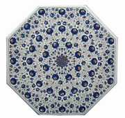 48 White Marble Dining Center Table Top Handmade Inlay Works Decor Octagon