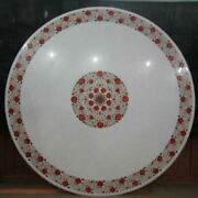 42 Handicraft Round Marble Coffee Dining Table Top Inlay With Red Lapis Work