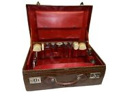 Antique Crocodile Gentleman's Suitcase By John Pound With Sterling Vanity Set