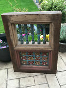 Vintage Indian Teak Wooden Coloured Window Jali Screen Salvaged From Rajasthan A