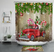 Red Truck Christmas Tree Balls Shower Curtain Candy Cane Bathroom Accessory Sets