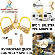 Rv Camper Propane Quick Connect Y Splitter Adapter For Hose Connector Bbq Grill