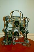 Soldered Wrought Iron Black Wine Rack 6 Bottle Holder With Grapes And Leaf Motif