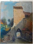 Carloti 20th Oil On Canvas View Old Village Animated 18 1/8x24in