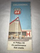 Vintage Phillips 66 Road Map Oklahoma Gas Oil Petro Paper Collectible Pre-owned