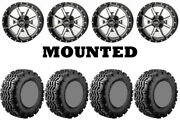 Kit 4 Ams V-trax Tires 25x10-12 On Frontline 556 Machined Wheels Fxt