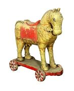 Antique Unique Wooden Tribal Horse Statue Indian Carved Handcrafted Home Decor