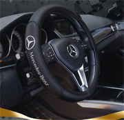 Black 38cm/15inch Steering Wheel Cover For Mercedes-benz Logo Genuine Leather