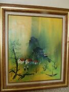 Bertram C Asian Chinese Oil Painting Signed And Framed 31x27 In