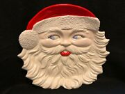 Santa Head Serving Platter Red Lips Curly Beard And Blue Eyes 13.75 Wide